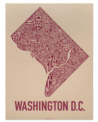 "Washington DC Neighborhood Map Screenprint, Tan & Berry, 18"" x 24"""