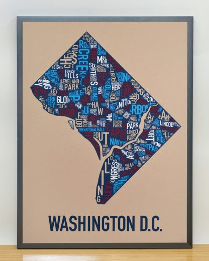 "Framed Washington DC Neighborhood Map Poster, Tan/Red/White/Blue, 18"" x 24"" in Steel Grey Frame"