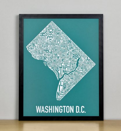 "Framed Washington DC Typographic Neighborhood Map Screenprint, Teal & White, 11"" x 14"" in Black Metal Frame"