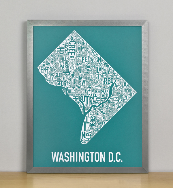 "Framed Washington DC Typographic Neighborhood Map Screenprint, Teal & White, 11"" x 14"" in Steel Grey Frame"