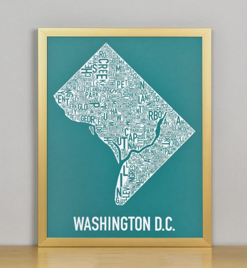 "Framed Washington DC Typographic Neighborhood Map Screenprint, Teal & White, 11"" x 14"" in Bronze Frame"