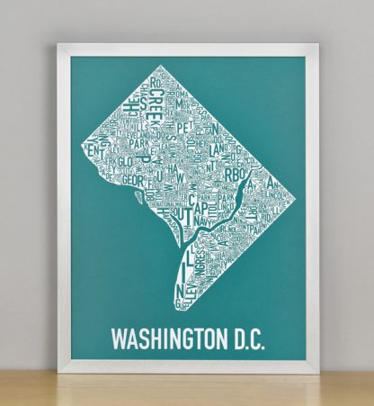 "Framed Washington DC Typographic Neighborhood Map Screenprint, Teal & White, 11"" x 14"" in Silver Frame"