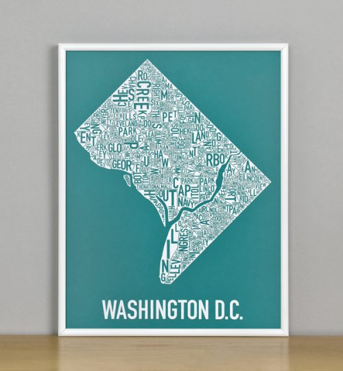 "Framed Washington DC Typographic Neighborhood Map Screenprint, Teal & White, 11"" x 14"" in White Metal Frame"