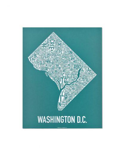 "Washington DC Neighborhood Map Screenprint, Teal & White, 11"" x 14"""