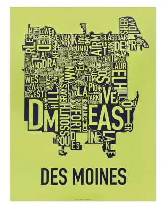 "Des Moines Neighborhood Map, Lime & Grey, 18"" x 24"""