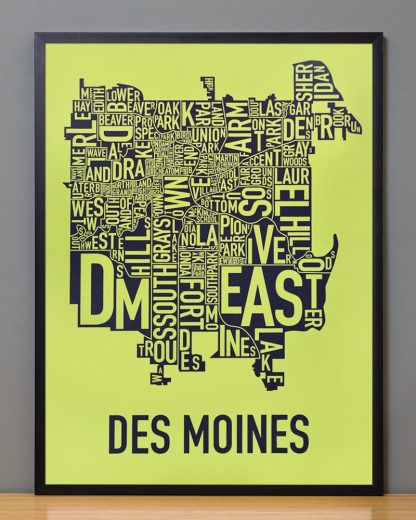 "Framed Des Moines Neighborhood Map, Lime & Grey, 18"" x 24"" in Black Frame"