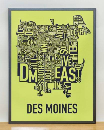 "Framed Des Moines Neighborhood Map, Lime & Grey, 18"" x 24"" in Steel Grey Frame"