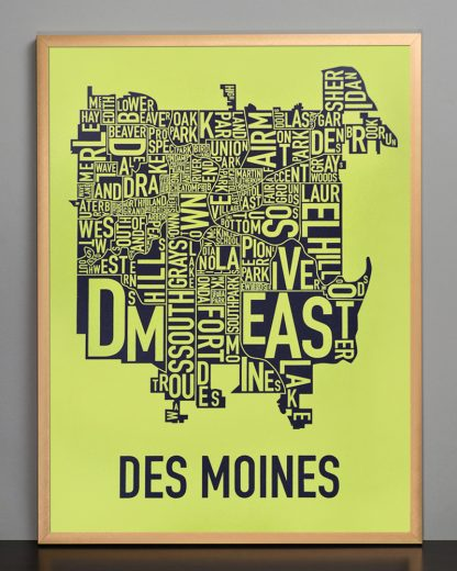 "Framed Des Moines Neighborhood Map, Lime & Grey, 18"" x 24"" in Bronze Frame"