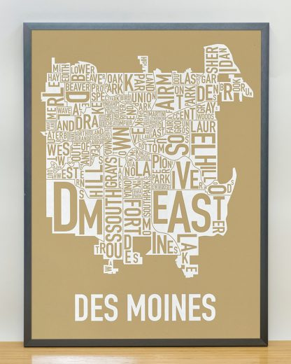 "Framed Des Moines Neighborhood Map, Tan & White, 18"" x 24"" in Steel Grey Frame"