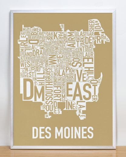 "Framed Des Moines Neighborhood Map, Tan & White, 18"" x 24"" in Silver Frame"