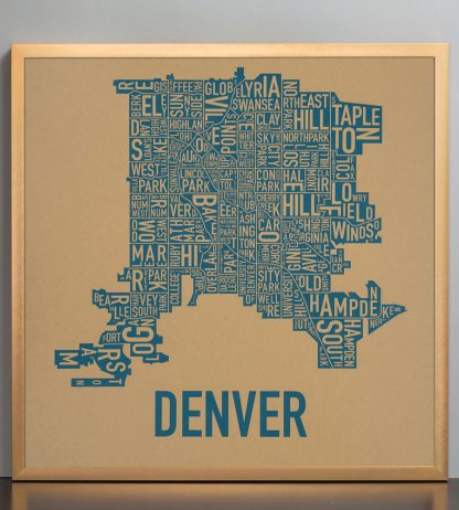 "Framed Denver Neighborhood Map Screenprint, Kraft & Blue, 18"" x 18"" in Bronze Frame"