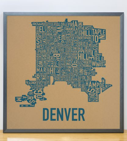"Framed Denver Neighborhood Map Screenprint, Kraft & Blue, 18"" x 18"" in Steel Grey Frame"