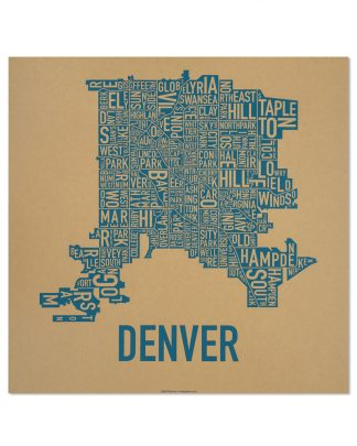 "Denver Neighborhood Map Screenprint, Kraft & Blue, 18"" x 18"""