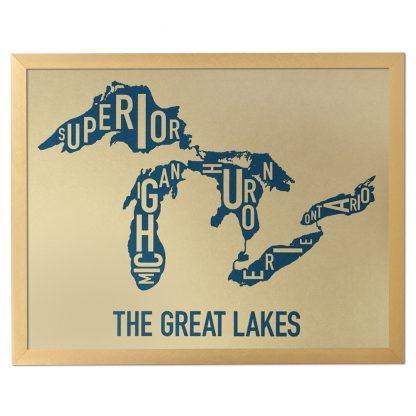 "Framed Great Lakes Typographic Map, Gold & Blue Screenprint, 11"" x 14"" in Bronze Frame"
