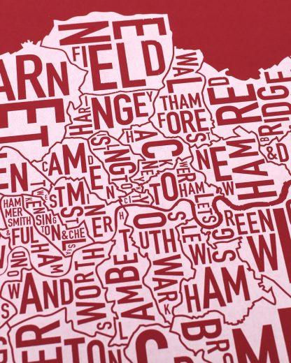 "London Borroughs Map Poster Screenprint, Red & White, 20"" x 20"""