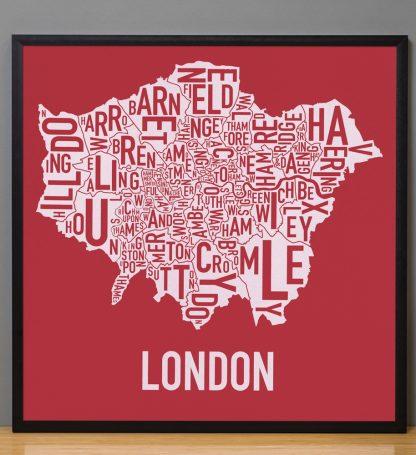 """Framed London Borroughs Map Poster Screenprint, Red & White, 20"""" x 20"""" in Black Frame"""