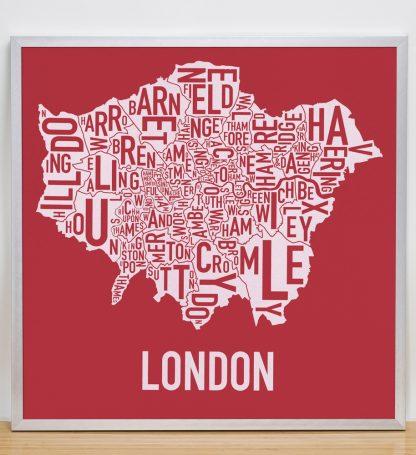 "Framed London Borroughs Map Poster Screenprint, Red & White, 20"" x 20"" in Silver Frame"