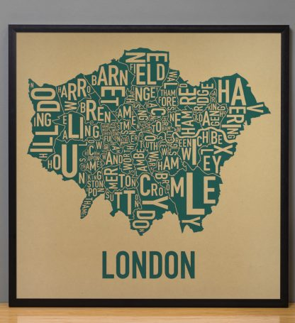 "Framed London Borroughs Map Poster Screenprint, Tan & Green, 20"" x 20"" in Black Frame"
