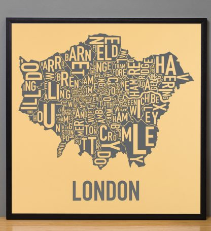 "Framed London Borroughs Map Poster, Yellow & Grey, 20"" x 20"" in Black Frame"