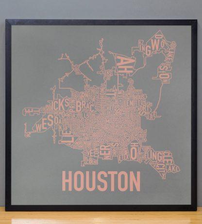 """Framed Houston Neighborhood Map Poster, Grey & Peach, 18"""" x 18"""" in Black Frame"""