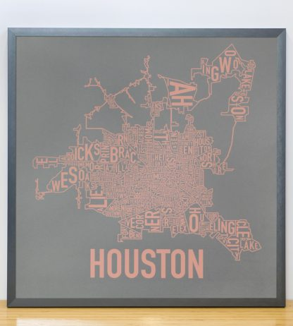 "Framed Houston Neighborhood Map Poster, Grey & Peach, 18"" x 18"" in Steel Grey Frame"