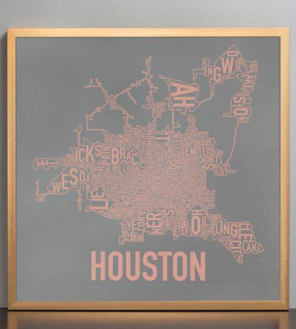 """Framed Houston Neighborhood Map Poster, Grey & Peach, 18"""" x 18"""" in Bronze Frame"""