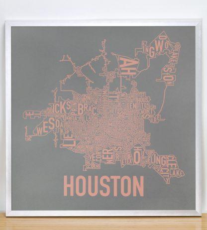 "Framed Houston Neighborhood Map Poster, Grey & Peach, 18"" x 18"" in Silver Frame"