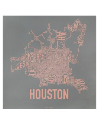 "Houston Neighborhood Map Poster, Grey & Peach, 18"" x 18"""