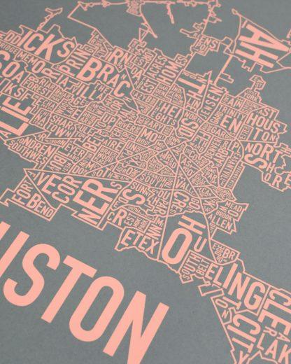"Houston Neighborhood Map Poster, Grey & Peach, 18"" x 18"""