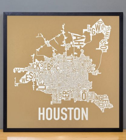 "Framed Houston Neighborhood Map Poster, Tan & White, 18"" x 18"" in Black Frame"