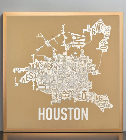 "Framed Houston Neighborhood Map Poster, Tan & White, 18"" x 18"" in Bronze Frame"