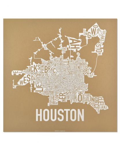 "Houston Neighborhood Map Poster, Tan & White, 18"" x 18"""