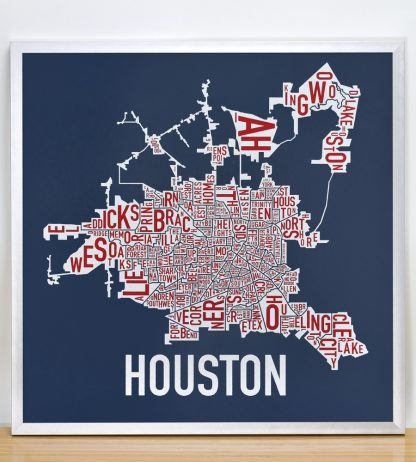"""Framed Houston Neighborhood Map Poster, Red White & Blue, 18"""" x 18"""" in Silver Frame"""