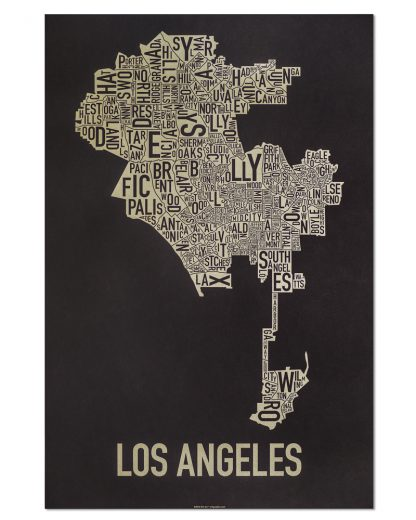 "Los Angeles Neighborhood Map Screenprint, Black & Gold, 20"" x 30"""