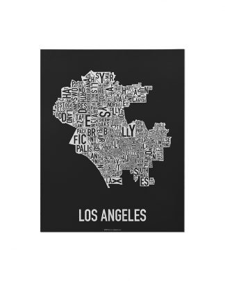 "Los Angeles Neighborhood Map Screenprint, Black & White, 11"" x 14"""