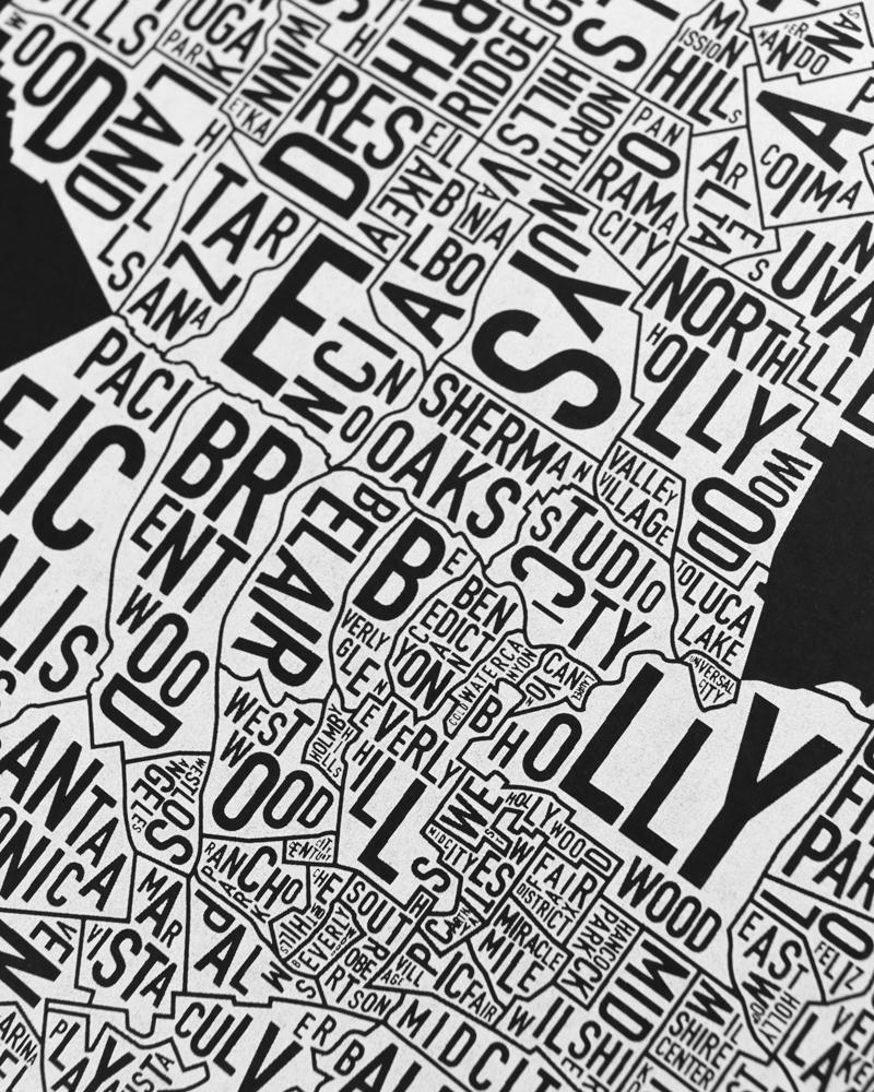Los angeles neighborhood map screenprint black white