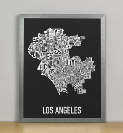 "Framed Los Angeles Neighborhood Map Screenprint, Black & White, 11"" x 14"" in Steel Grey Frame"