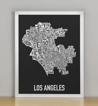 "Framed Los Angeles Neighborhood Map Screenprint, Black & White, 11"" x 14"" in Silver Frame"
