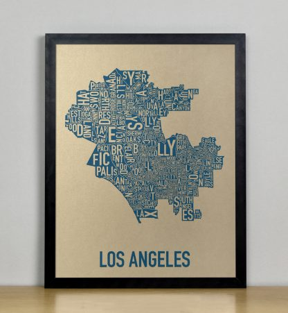 "Framed Los Angeles Neighborhood Map, Gold & Blue Screenprint, 11"" x 14"" in Black Frame"