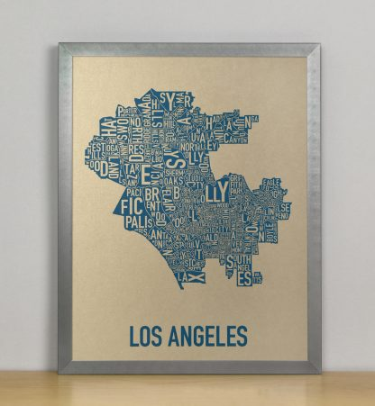 "Framed Los Angeles Neighborhood Map, Gold & Blue Screenprint, 11"" x 14"" in Steel Grey Frame"