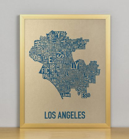 "Framed Los Angeles Neighborhood Map, Gold & Blue Screenprint, 11"" x 14"" in Bronze Frame"