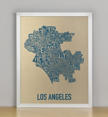 "Framed Los Angeles Neighborhood Map, Gold & Blue Screenprint, 11"" x 14"" in Silver Frame"