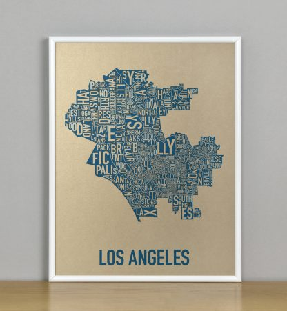 "Framed Los Angeles Neighborhood Map, Gold & Blue Screenprint, 11"" x 14"" in White Metal Frame"