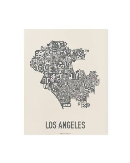 "Los Angeles Neighborhood Map Screenprint, Ivory & Grey, 11"" x 14"""