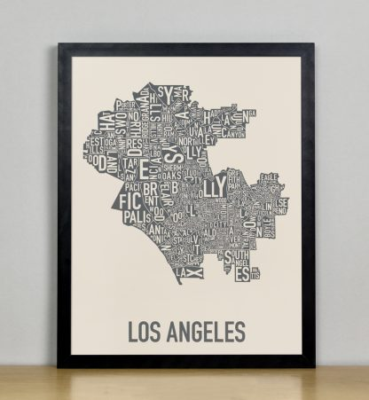 "Framed Los Angeles Neighborhood Map Screenprint, Ivory & Grey, 11"" x 14"" in Black Frame"