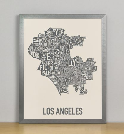 "Framed Los Angeles Neighborhood Map Screenprint, Ivory & Grey, 11"" x 14"" in Steel Grey Frame"