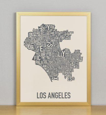 "Framed Los Angeles Neighborhood Map Screenprint, Ivory & Grey, 11"" x 14"" in Bronze Frame"