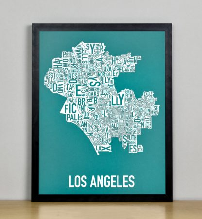 "Framed Los Angeles Typographic Neighborhood Map Screenprint, Teal & White, 11"" x 14"" in Black Metal Frame"