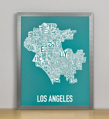 "Framed Los Angeles Typographic Neighborhood Map Screenprint, Teal & White, 11"" x 14"" in Steel Grey Frame"