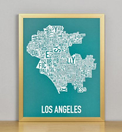"Framed Los Angeles Typographic Neighborhood Map Screenprint, Teal & White, 11"" x 14"" in Bronze Frame"